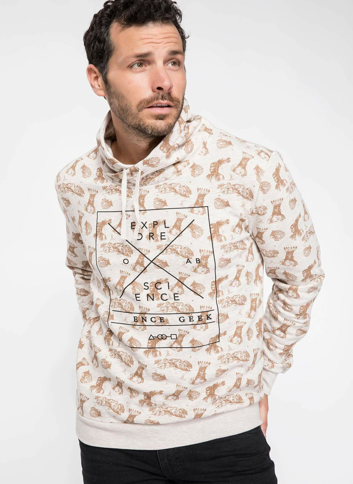 Defacto Desenli Şal Yaka Slim Fit Sweatshirt J1918az18wnbg300 Sweatshirt – 39.99 TL